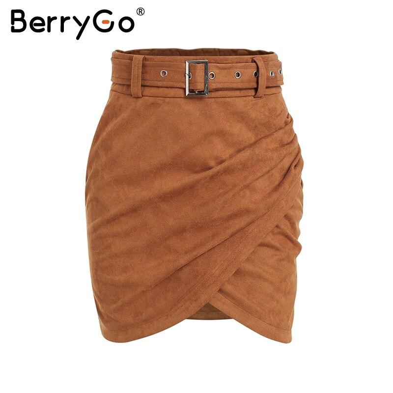 BerryGo High waist belt suede leather skirt female Autumn winter irregular bodycon mini skirt Sexy streetwear women skirt bottom 9