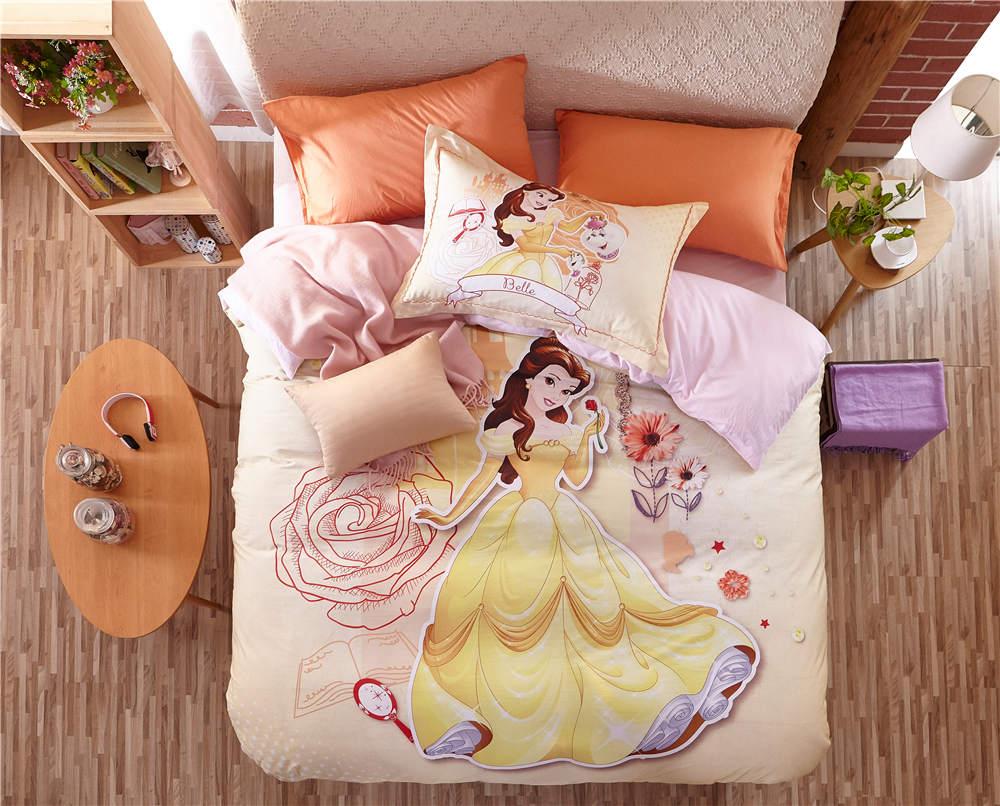 Disney Cartoon princesse 3D imprimé ensemble de literie pour filles chambre décor coton couvre-lit couette housses de couette double taille de la reine