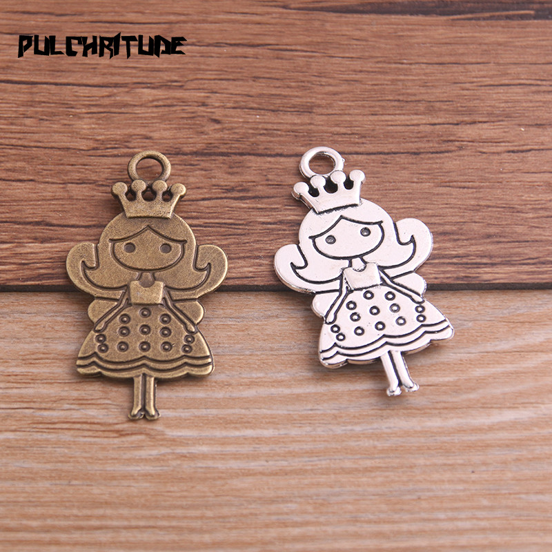 6PCS 24*45mm Metal Alloy Two Color Queen/Princess Charms Pendants for Jewelry Making DIY Handmade Craft