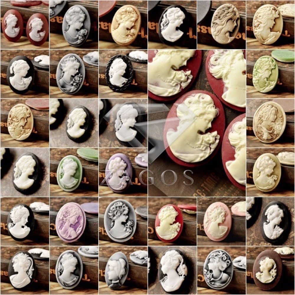 4Pcs Resin B Grade Vintage Style Oval Lady Flat Back Cameo Cabochon For Jewelry Accessories Wholesale Fast Ship