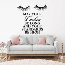 Beautiful Lashes Vinyl Wall Sticker Girl Eyelashes Quote Decals Make Up Beauty Salon Bedroom Decor Livingroom Decoration SL001