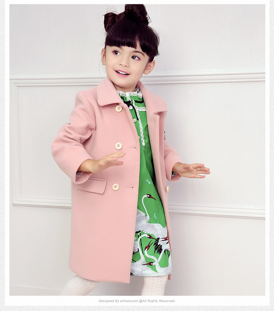 Girls' wool coat 2016 new autumn and winter children long section double breasted woolen overcoat kids lapel embroidery clothing