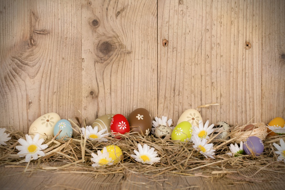 Easter eggs Photo Vinyl Backdrop wood wall Photographic Studio Background For Photography