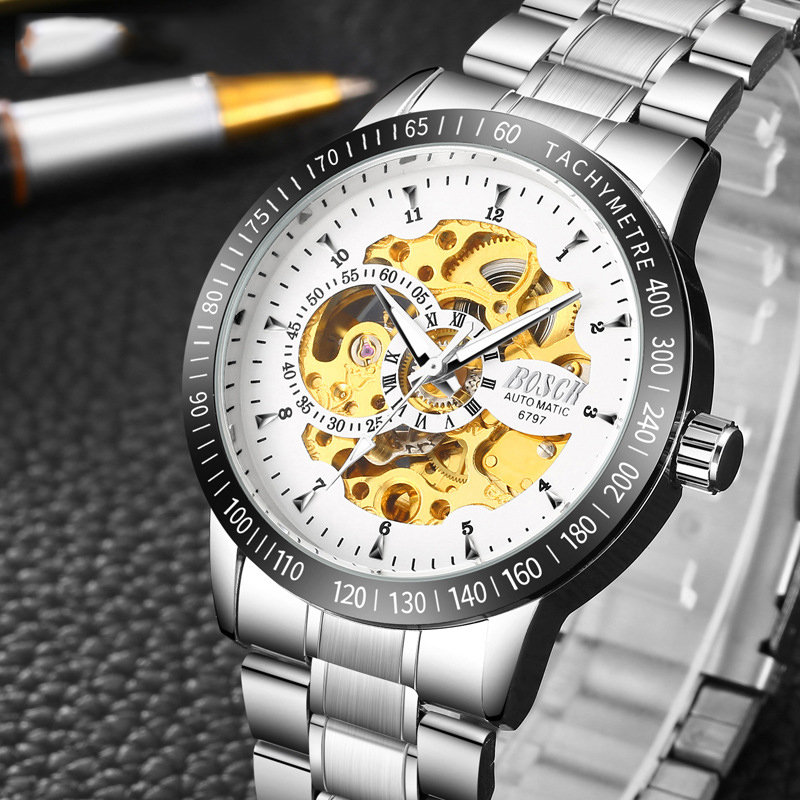 BOSCK 2017 New Arrival Males Steel Waterproof Mechanical Watch Luxury Automatic Hollow Machinery Calender Luminous Watches