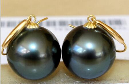free shipping >>>>noble jewelry stunninga pair of 10-11mm natural round black green pearl earring