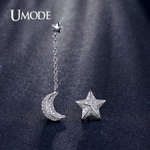 UMODE Fashion Jewelry Star and Moon With Chain CZ Crystal Drop Earrings For Women White Gold