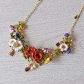 Francés Les Nereides Esmalte Collar Romántico Hermosas Flores Rojas Joyería Para Las Mujeres de Lujo Al Por Mayor Del Partido