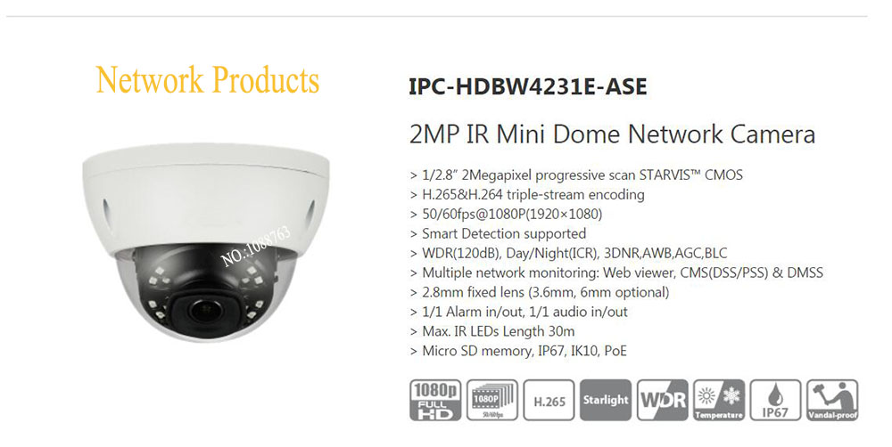 Free Shipping DAHUA Surveillance IP Camera 2MP IR Mini Dome Network Camera IP67 IK10 With POE without Logo IPC-HDBW4231E-ASE free shipping dh security ip camera 2mp 1080p ir mini dome network camera ip67 ik10 with poe without logo ipc hdbw4231f as