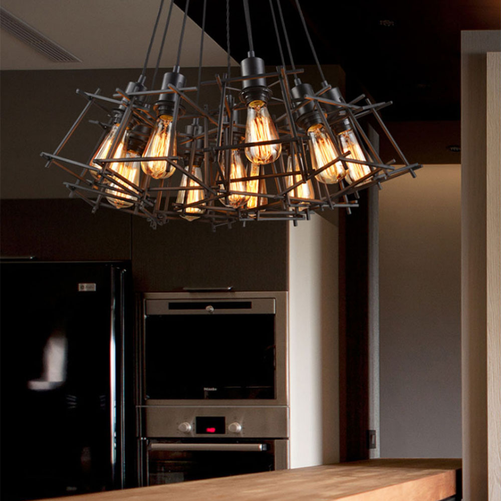 Nordic Creative Personality Retro Industrial Wind Chandelier Restaurant Bar  American Village Iron Single Trapezoidal Chandelier vintage pendant light oak wood retro lamp 100cm wire e27 socket hanging triangle rope light fixture 100 240v luminaire lamparas