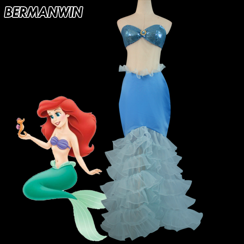BERMANWIN High Quality adult women princess ariel dress The little Mermaid ariel costume mermaid Dress halloween cosplay costume