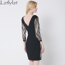 lztlylzt Lace Dress 2016 New Style Autumn Dress long-sleeved Sexy Deep V Neck dress Backless Club Party Bodycon Dress vestidos