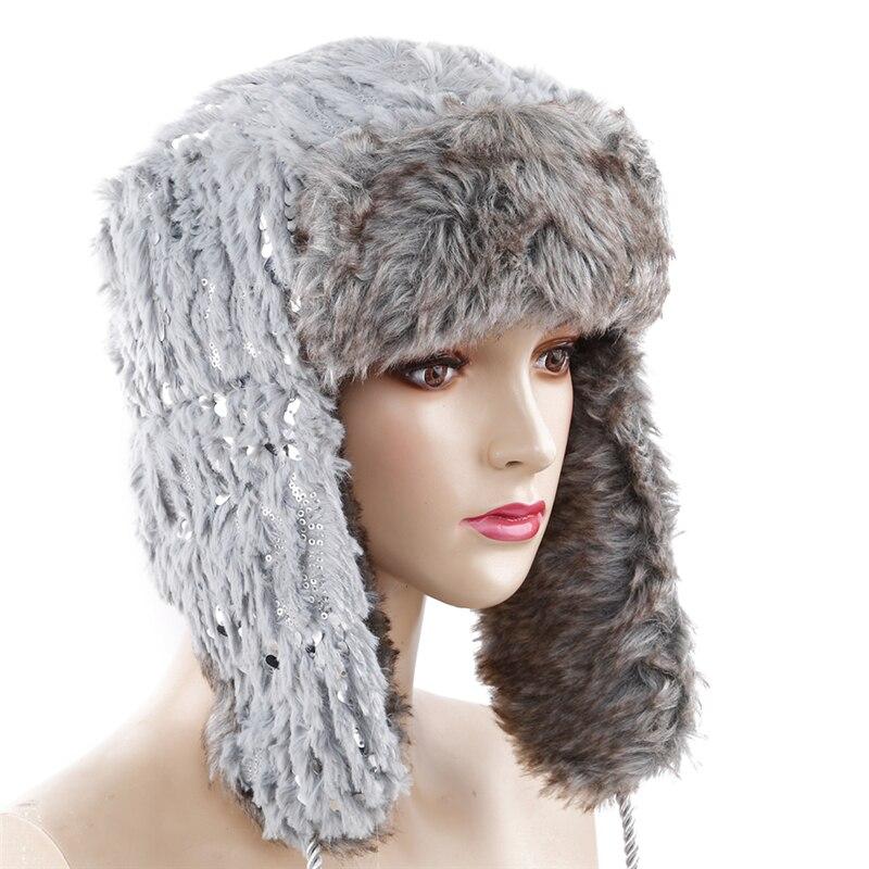 2018 Winter Frauen Mode Neue Hüte Faux Pelz Warme Hohe Qualität Hüte Grau Weiß Schwarz Mit Pailletten Kappe Kunden Zuerst