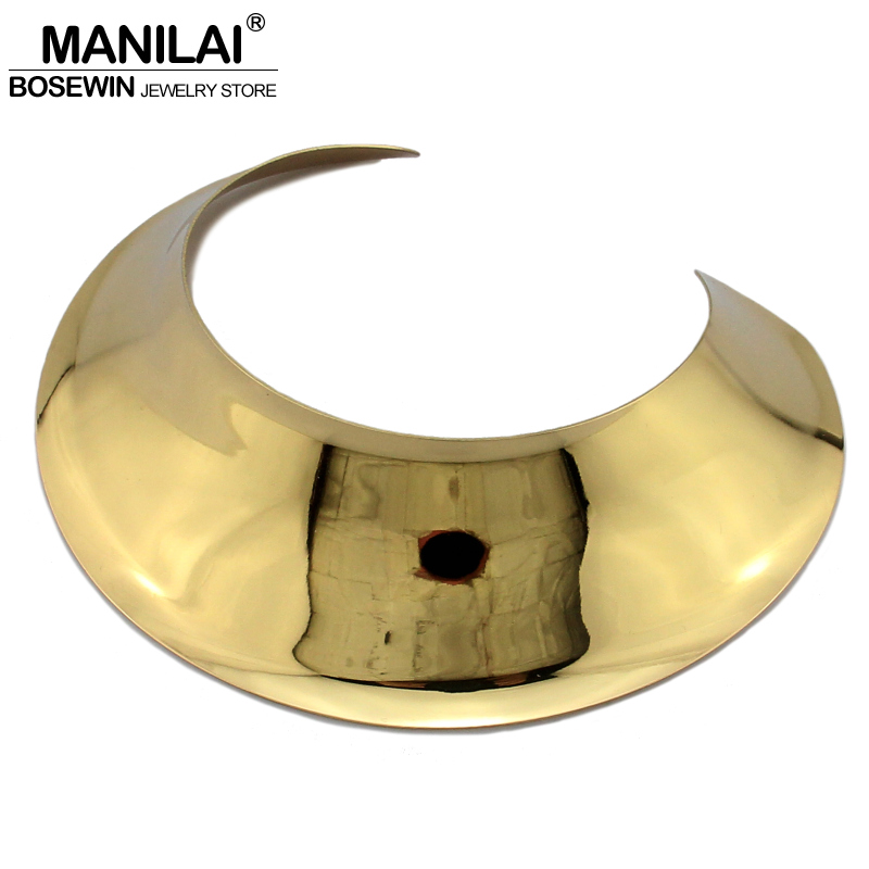 MANILAI Big Collar Choker Necklace Women New Fashion Wide Alloy Torques Geometric Statement Necklaces Maxi Jewelry CE4346