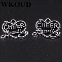 WKOUD 15 pz Argento Antico amo cheer leader Cuori Pendente di Fascino Monili Che Fanno Handmade DIY Craft 19X16mm(China)