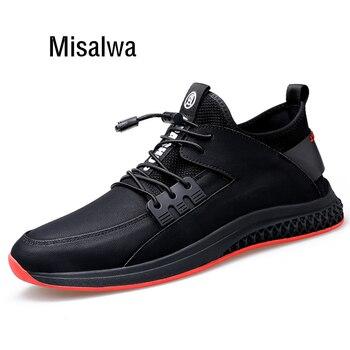 9f63198284c Misalwa verano otoño 5 CM hombres zapatos elevadores cuero PU Casual  zapatillas hombres zapatos blancos altura aumento hombres zapatos de  elevación ...
