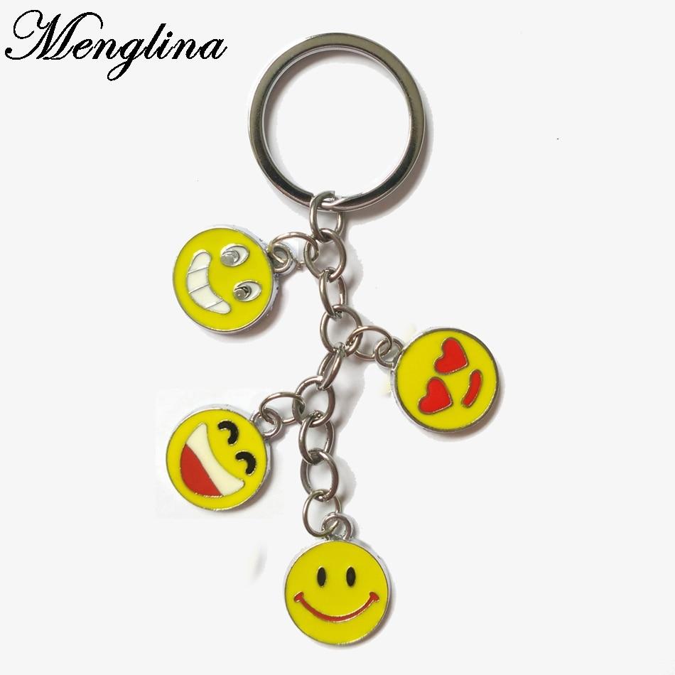 Menglina Fashion Mixed Metal Emoji Keychains Kawaii Enamel Face Expression Key Rings For Men & Women Accessories 70223