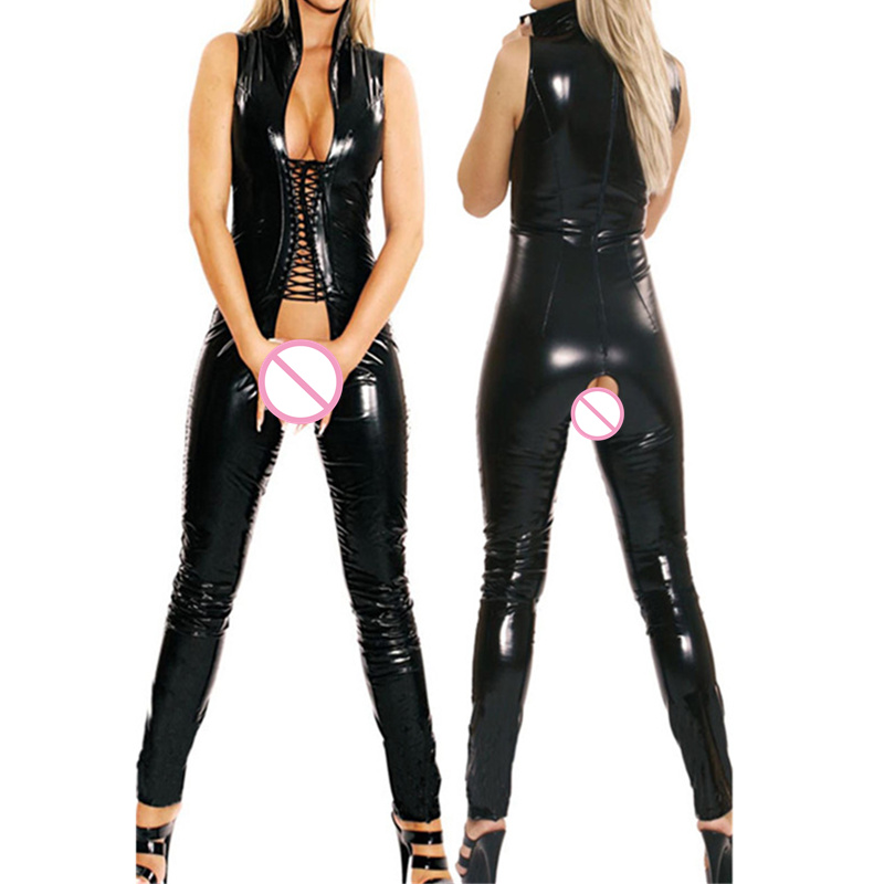 Կանայք Sexy PVC Latex Open Crotch Catsuit Faux Կաշվե - Կանացի հագուստ - Լուսանկար 3