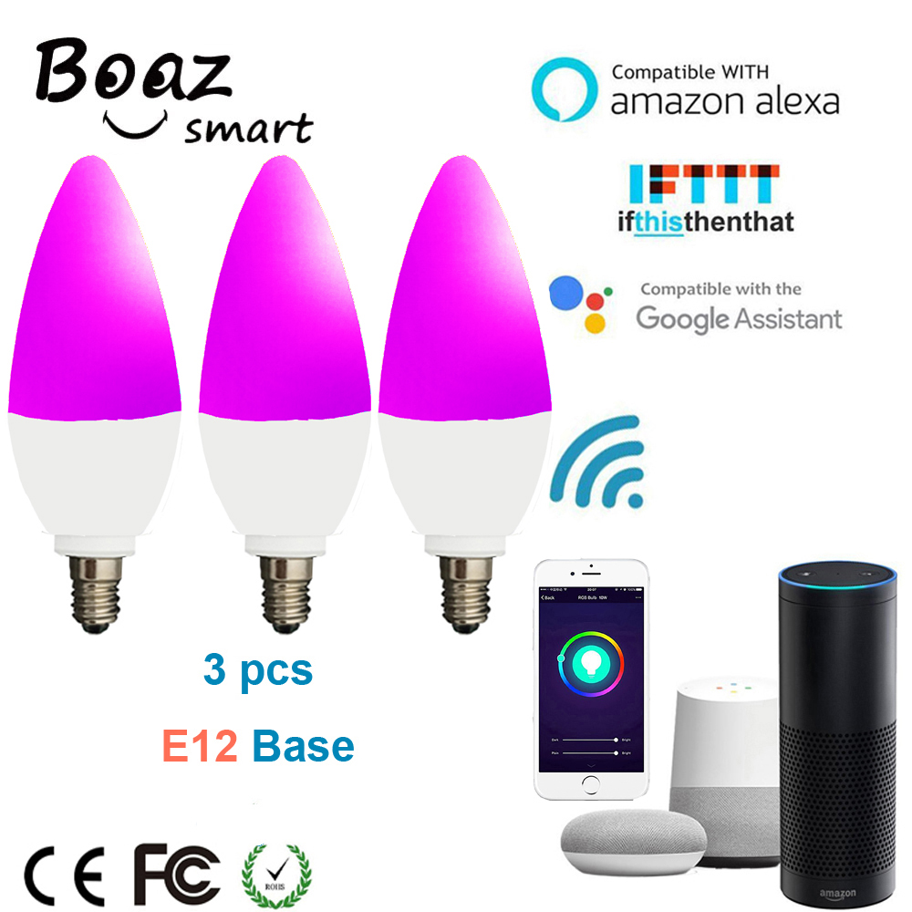 Boaz EC 3pcs Smart Wifi E12 Bulb Led Candle Light RGBCW Tuya Smartlife Lamp APP Voice