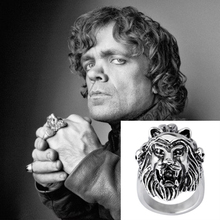 Game of Thrones Stark Lannister Wolf Lion Family Badge Rings Antique Silver Cool Men Ring Jewelry For Movie Fans Bague Homme