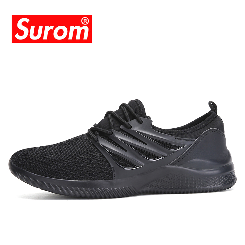 SUROM Brand Running Shoes Cheap Sport Outdoor White Black Sneakers Summer Light Breathable Comfortable Leisure Men Jogging Shoes
