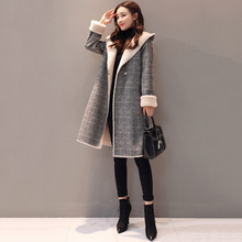 High Quality Women Parker Long Section 2019 Spring Autumn New Woolen Coat Korean Lattice Jacket Popular Outerwear Winter