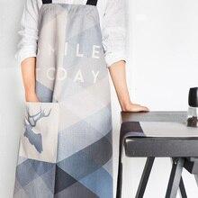 Nordic стиль печати хлопок фартуки синий Геометрия узор утолщение фартук для Baker бар барбекю Повседневная обувь 02