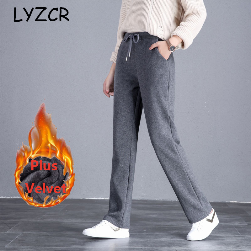 LYZCR Wide Leg Winter Warm Fleece Pants Women Plus Size Thick Women's Winter Pants Velvet Straight Loose Ladies Pants Autumn