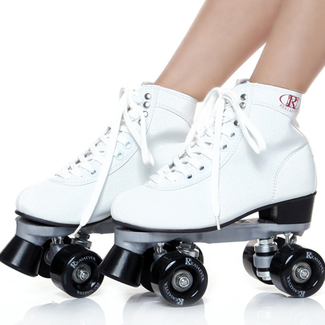 Breathable figure skating roller skates rubber material with middle-heel double PU rollers sepcial brake and easy balance
