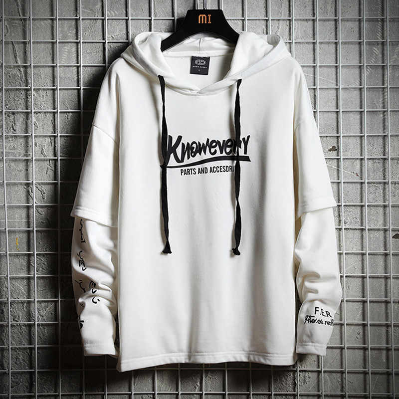 В стиле «хип-хоп» Для мужчин Толстовка, свитер осень с текстильной отделкой из хлопка; черные мужские уличная топы мягкий белый свободный пуловер с капюшоном спортивный костюм Harajuku пальто