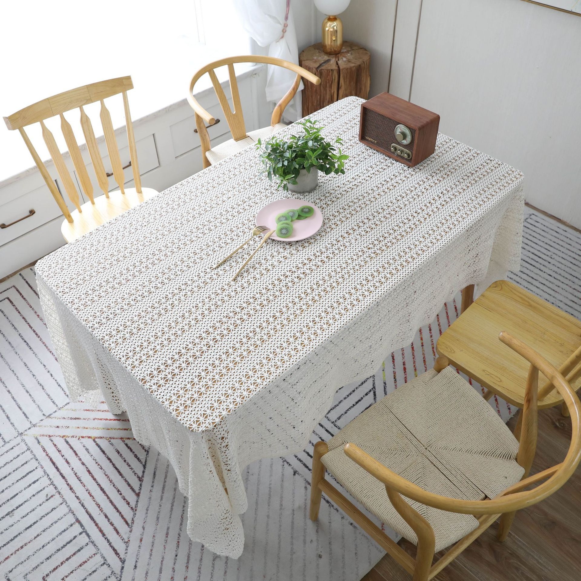 Proud Rose Linen Table Cloth Simple Grid Table Cover Sofa Towel Rectangle Embroidered Tablecloths Cover Towel Custom Tablecloths