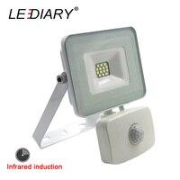 LEDIARY Indukcji Podczerwieni LED Projektor Reflektor Wodoodporna 220 V 10 W Na Zewnątrz IR Czujnik Kinkiet IP44 Biały Regulowany SMD