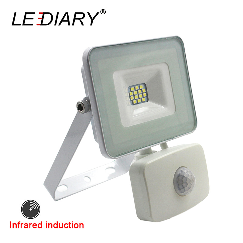 LEDIARY Infrared Induction LED Floodlight Waterproof 220V 10W Outdoor Projector IR Sensor Wall Lamp IP44 White Adjustable SMD