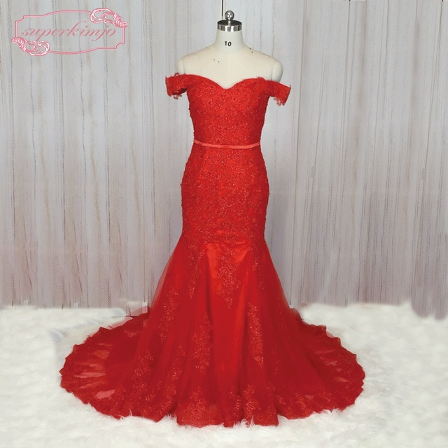 SuperKimJo Off Shoulder Mermaid Evening Dress 2017 Lace Applique Beaded  Elegant Red Evening Gown for Women Casamento 1f105e6a3ea9