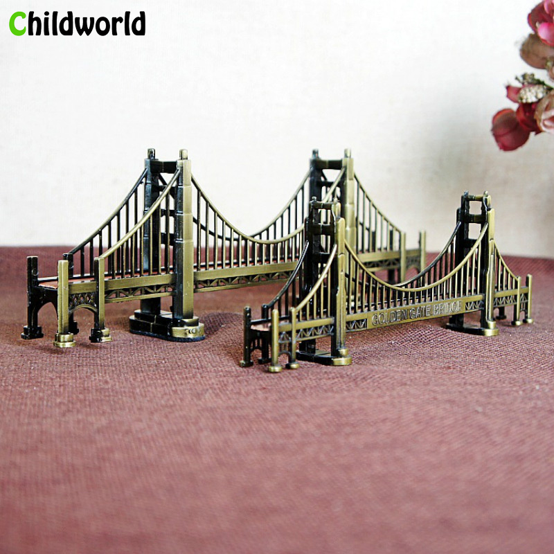 US Golden Gate Bridge Miniature Figurines Sculpture Model Plating Tourism Souvenirs Birthday Gifts Home Decoration Accessories
