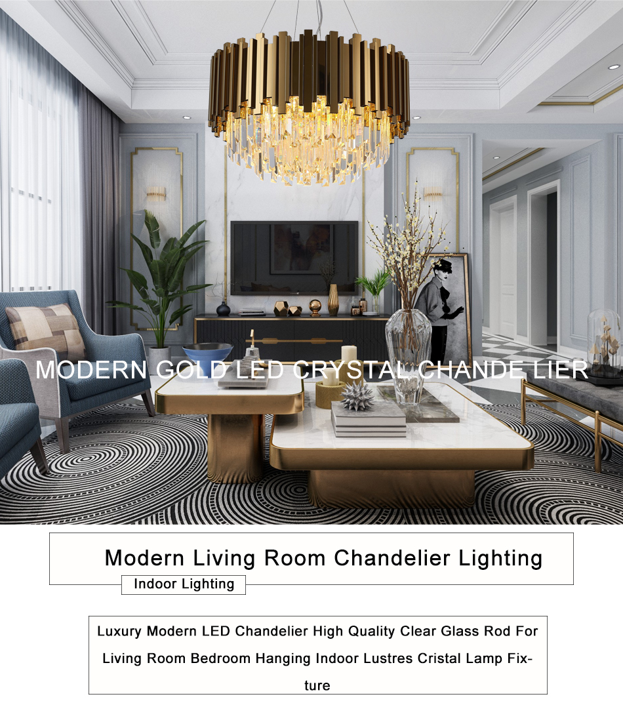 Modern Gold Chandelier Lighting Luxury Crystal LED Lamp Living Room Dining  Room Polished Steel