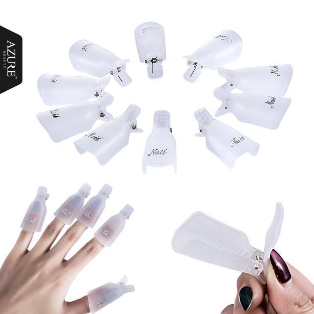 10PC Nail Art Plastic Gel Nail Polish Remover Soak Off Cap Clip UV Gel Polish Wrap Tool fluid for removal of varnish