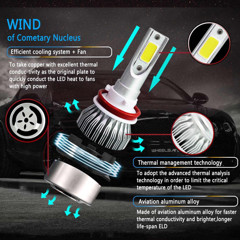 PAMPSEE 2Pcs Car Lights Bulbs LED H4 H7 9003 HB2 H11 LED H1 H3 H8 H9 880 9005 9006 H13 9004 9007 Auto Headlights 72W COB 6000K