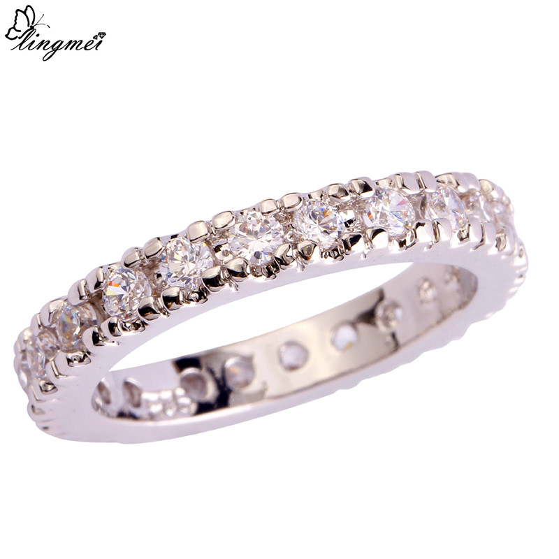 18K Gold Filled Finger Ring Amethyst Zircon Plaqué Souris Bijoux Lady Taille 6 7 SW