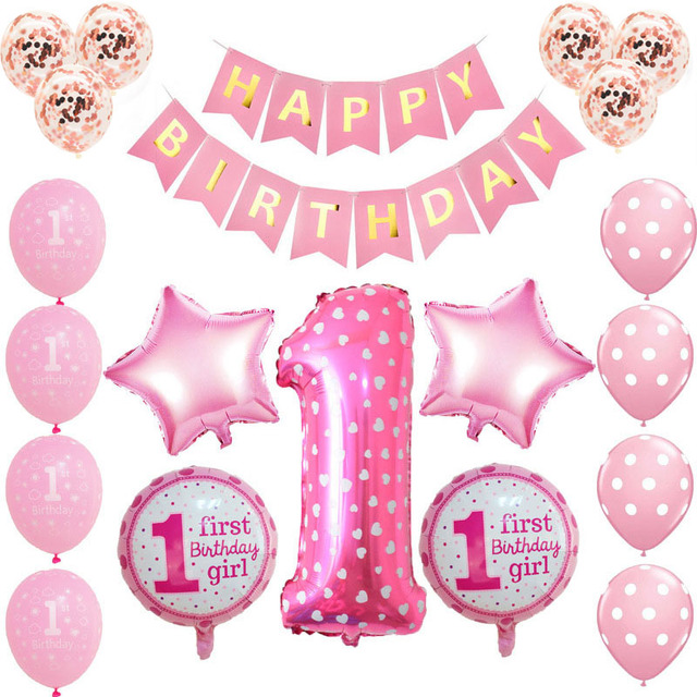 1st Birthday Balloons Blue Pink Foil 1 Year Babyshower Decoration Banner One Baby Shower S0XN