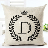 Cotton Pillow Case Fashion Alphabet Pattern Cushion Cover Home Decorative Pillow Case Sofa Seat Cushion Cover