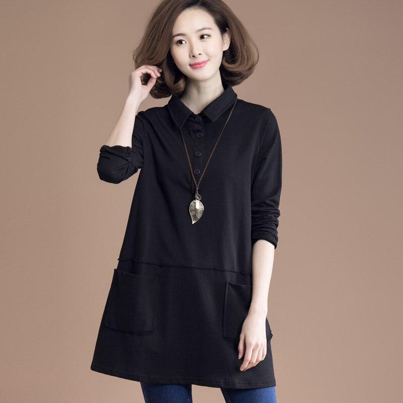 2019 women spring autumn tops tees loose cotton t shirt long sleeve bottoming shirt NM1