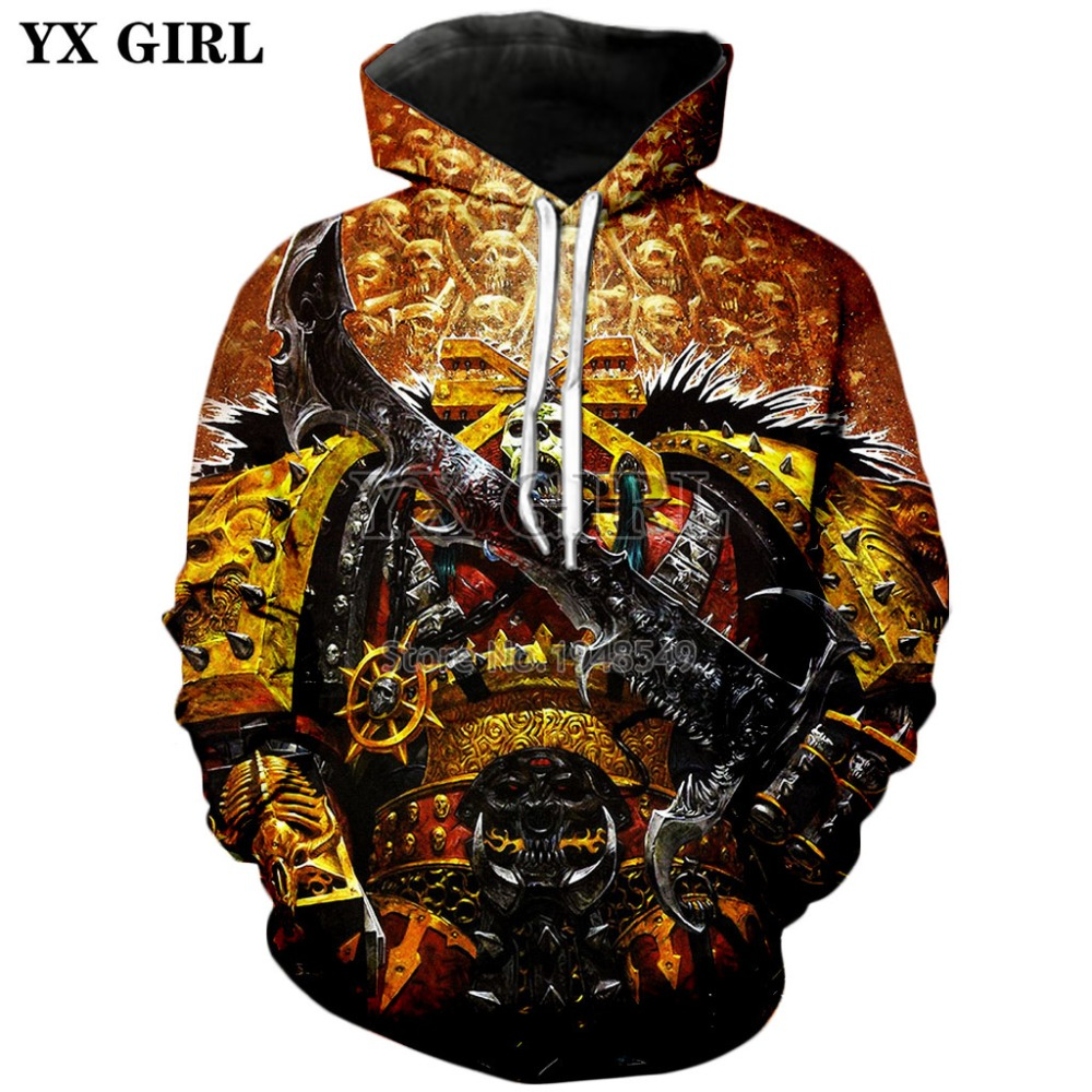 YX GIRL 2019 New Fashion Men Hoodies Warhammer 40000 Dawn Of War Game 3D Print Hooded Sweatshirt Unisex Street Style Hoody