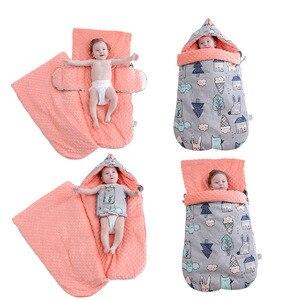 Image 3 - Saco de dormir para bebé, dibujos animados, algodón, saco de dormir de carrito, sobres para silla de ruedas para recién nacido