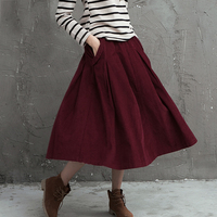 Literary Fashion Retro Big Swing A Word Tutu Wild Casual Corduroy High Waist Skirts Spring And
