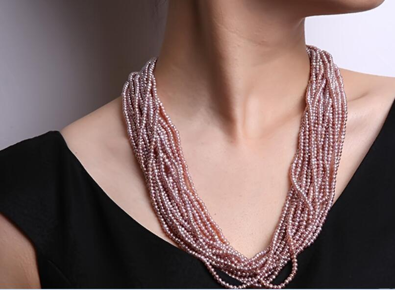 36-60cm 14-24 10 Rows Women Jewelry AAA natural pearl 4x5mm purple baroque freshwater pearl necklace gift36-60cm 14-24 10 Rows Women Jewelry AAA natural pearl 4x5mm purple baroque freshwater pearl necklace gift