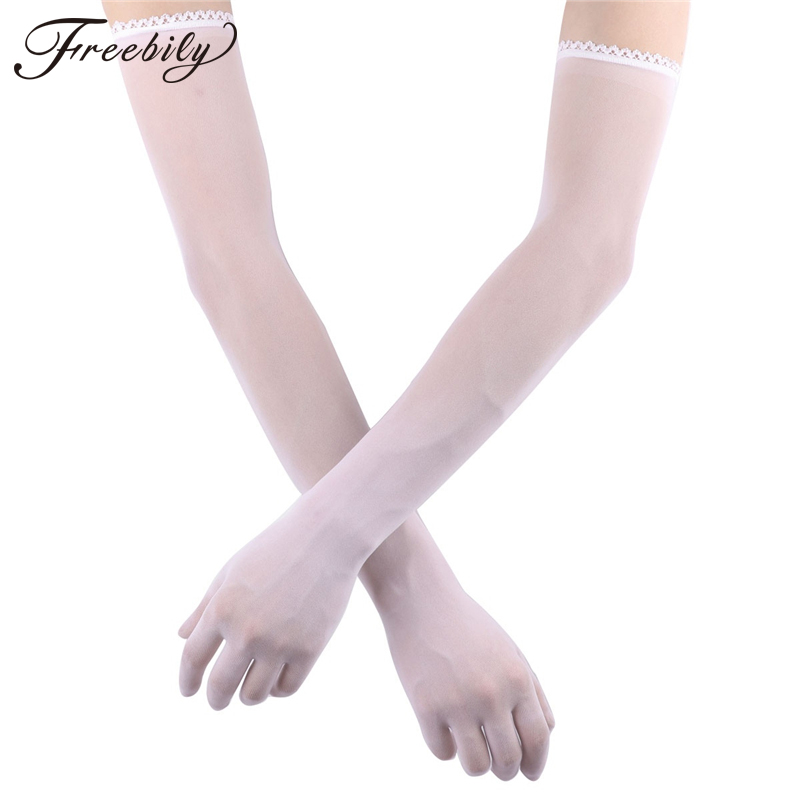 Women Mesh See Through Sheer Tulle Gloves Lace Hem Full Finger Elbow Long Gloves Mittens Party Photography Accessory Gloves