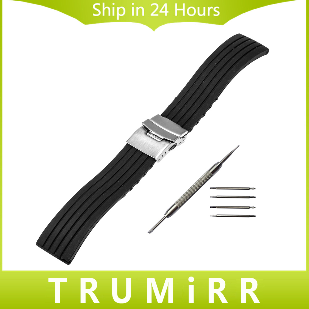Silicone Rubber Watch Band for Hamilton Men Women Stainless Steel Safety Buckle Strap Wrist Bracelet Black 18mm 20mm 22mm 24mm 20mm 22mm 24mm 26mm black stainless steel buckle for watch strap band free shipping