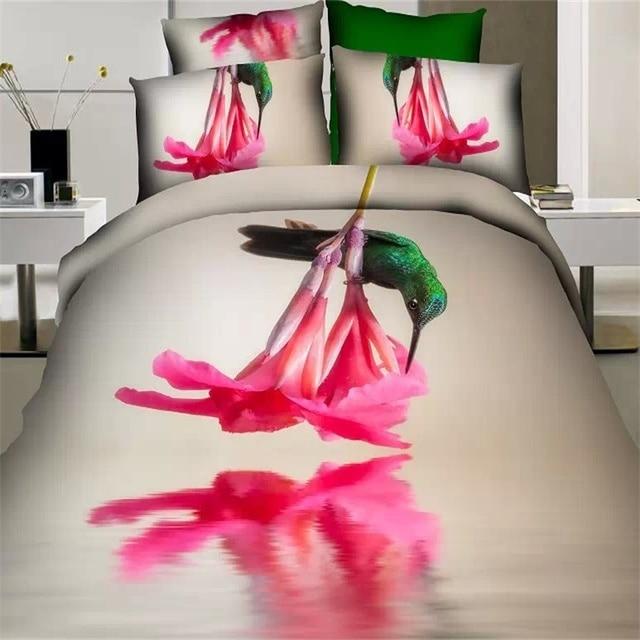 Pink flower 3d floral and bird print bedding sets queen size 100 pink flower 3d floral and bird print bedding sets queen size 100 cotton duvet cover mightylinksfo