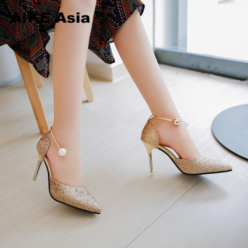 2018 Summer Women Pumps Sexy Black Gold Silver High Heels Shoes Fashion Luxury Rhinestone Wedding Party String Bead #666