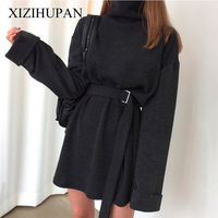 XIZIHUPAN Lace Up Women Dresses Turtleneck Batwing Sleeve Mini Dress Female Loose Top Korean Casual Clothes Fashion New Tide